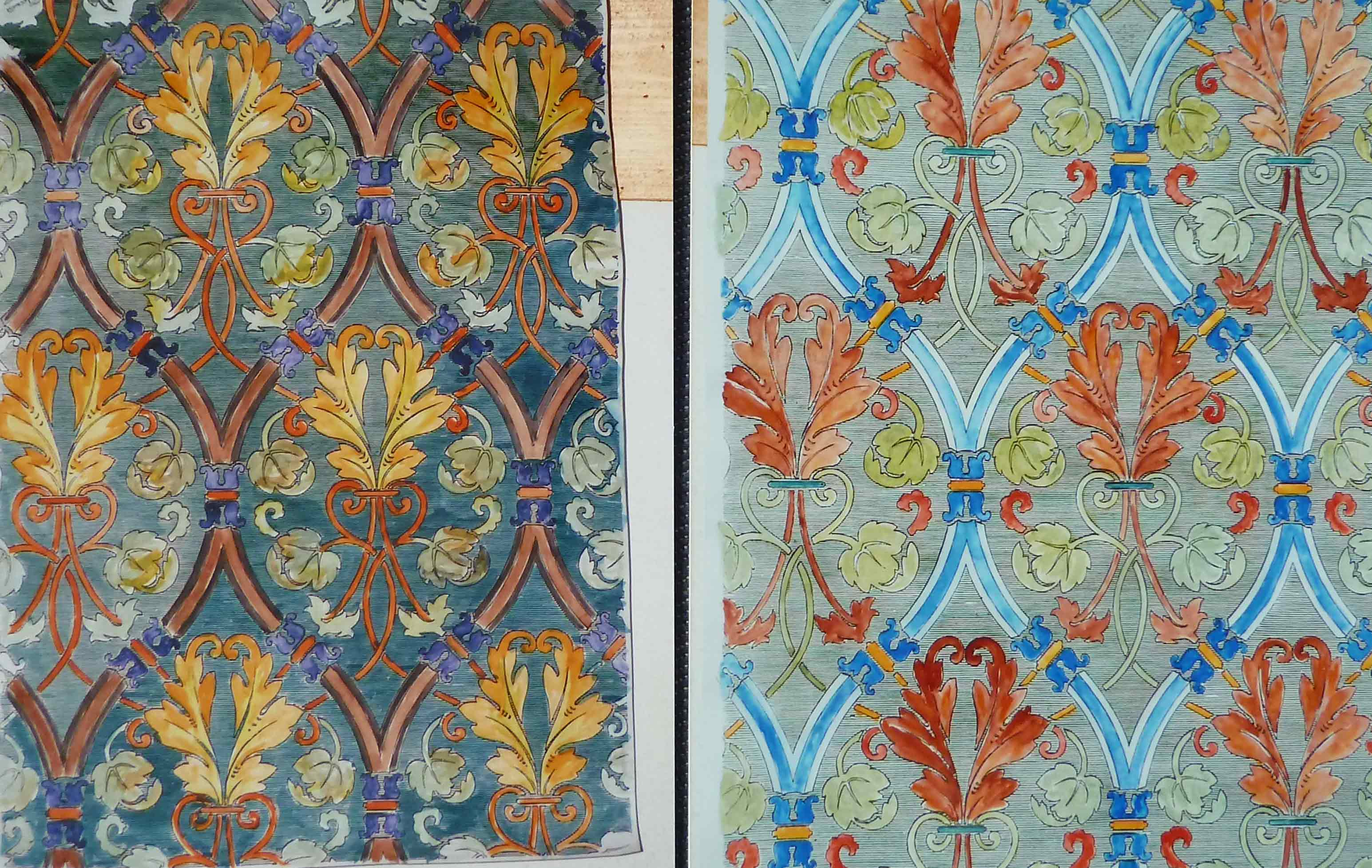 Vergleich von zwei Bildern mit Tapetenmuster in Farbe