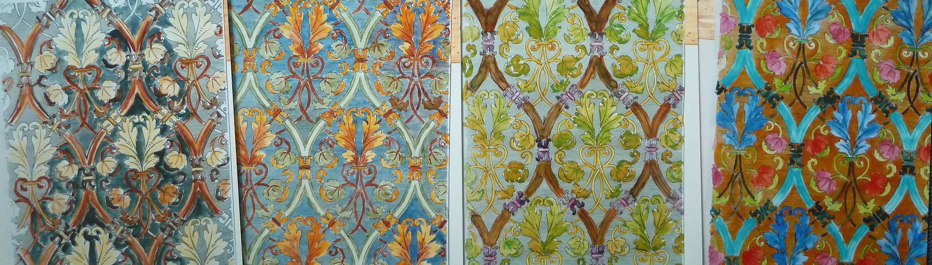 vier Bilder der Farbigen Gestaltungen der Muster