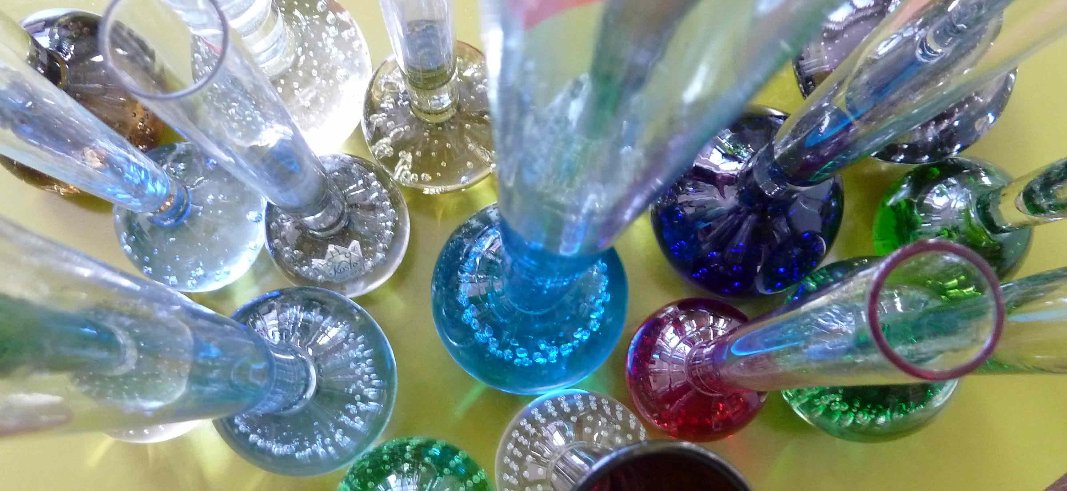 Solitaire Glasvasen von oben gesehen