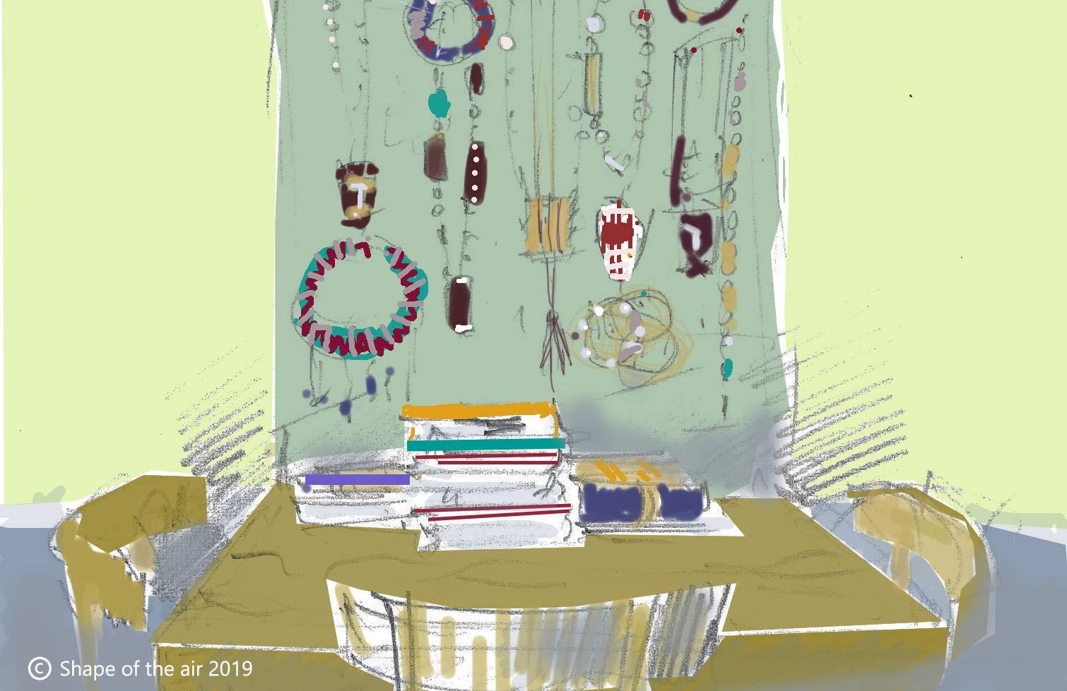 Zeichnung mit einem Tisch und Stühlen und Wandteppich