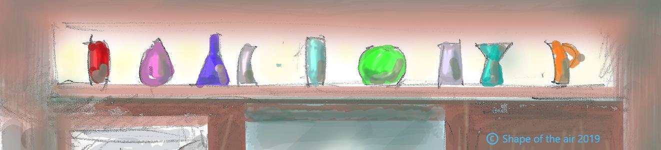 Zeichnung Glasvasen auf einem Regal